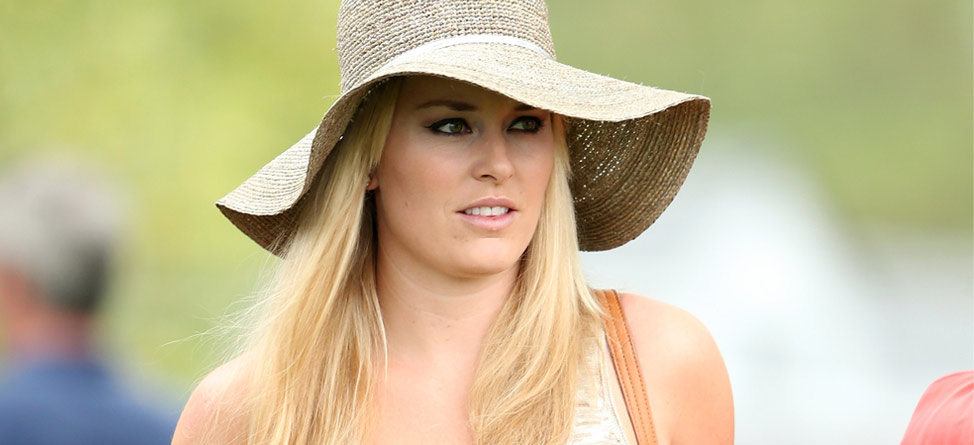 Lindsey Vonn Watches Tiger During Augusta First Round