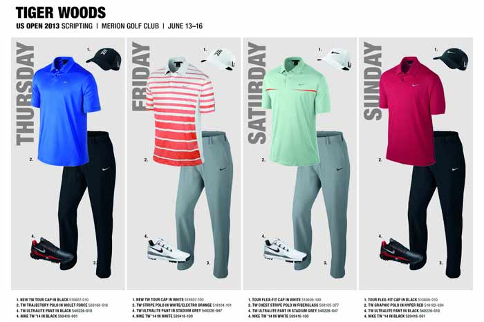 Nike Unveils Tiger Woos Outfits for U.S. Open 2013