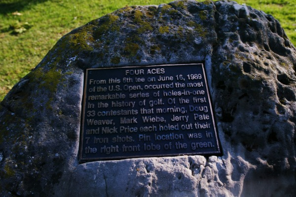 Oak Hill 6th hole plaque for four aces