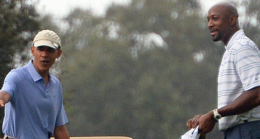President Obama, Alonzo Mourning Golf at 'Caddyshack' Course