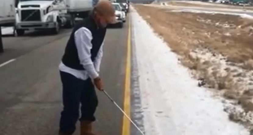 PGA Tour Pro John Peterson Practices On Icy Interstate