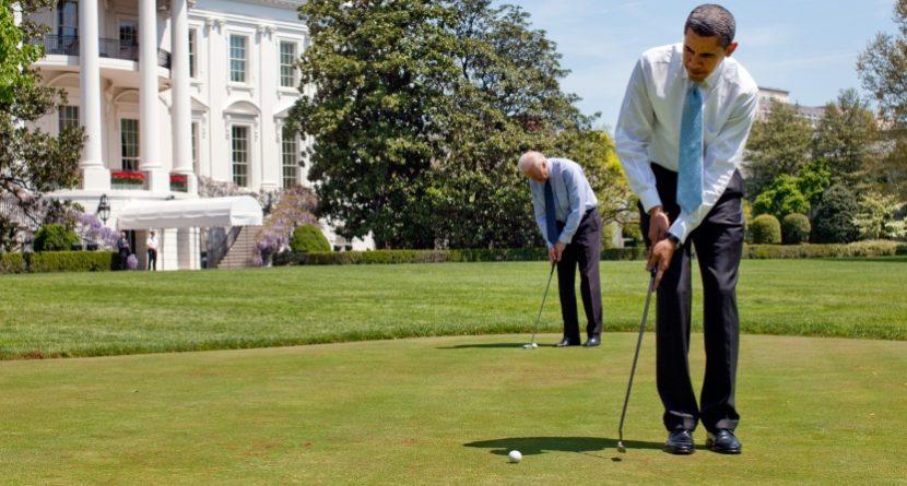 Obama and Biden Exchange Golf Gifts