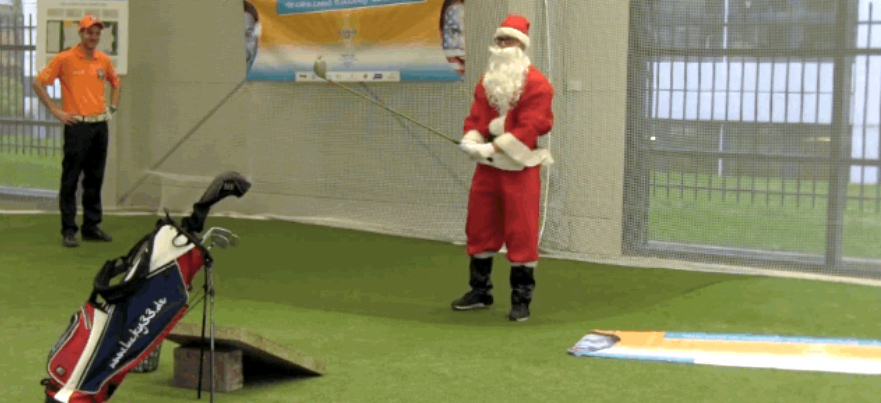 Santa Hits Trick Shots at Driving Range