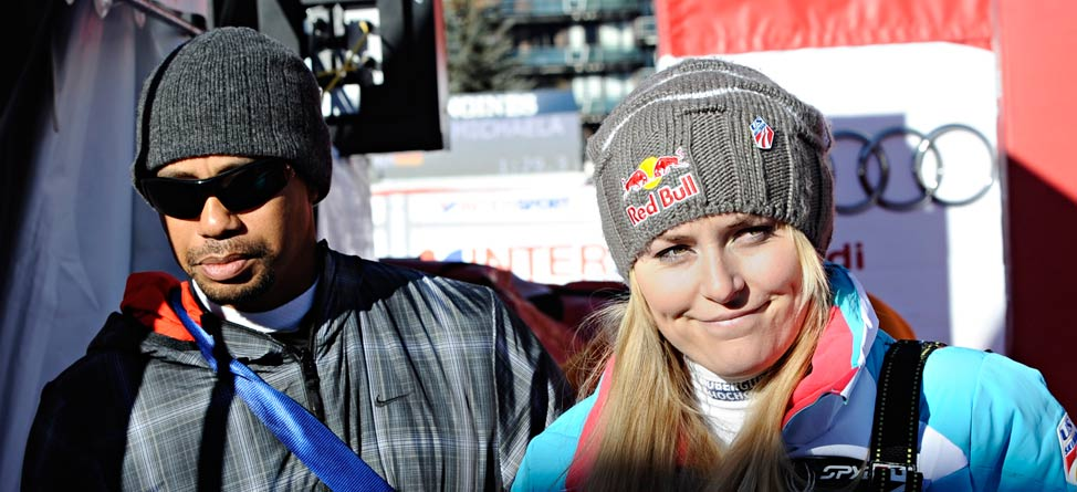 Tiger Woods Supports Lindsey Vonn at Olympic Tune-up