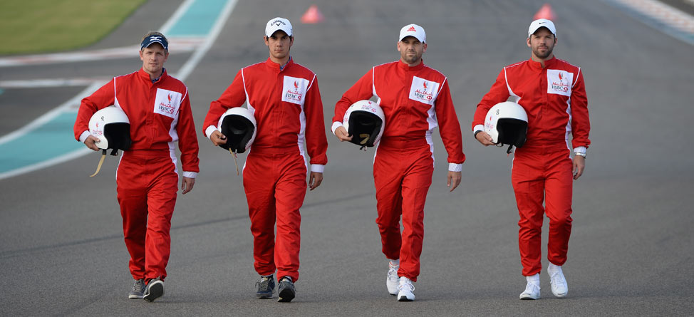 Golfers Race on F1 Grand Prix Course … In Golf Carts