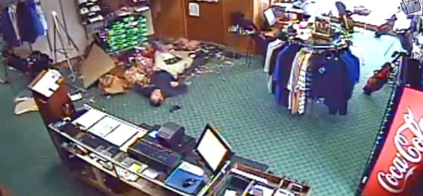 VIDEO: Man Falls Through Golf Shop Ceiling