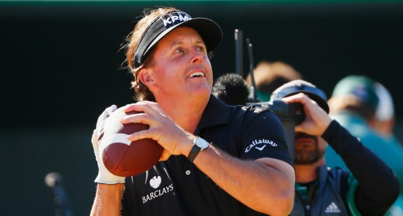 Phil Mickelson Throws Signed Footballs Into Crowd