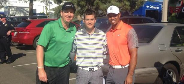 Tiger Woods, J.J. Henry and Briggs Berry