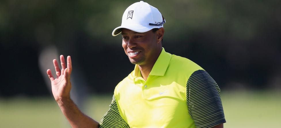 Tiger Woods Sinks 91-Foot Putt at Trump National Doral
