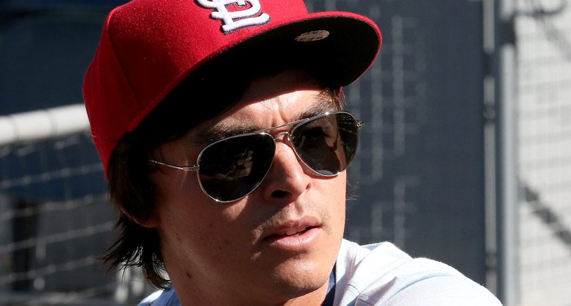 Rickie Fowler Takes Batting Practice At Cardinals Camp
