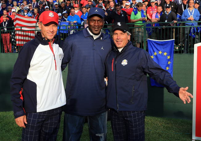 Davis Love III poses with Michael Jordan and Fred Couples during the Ryder Cup on September 28, 2012 in Medinah, Illinois. (Photo by David Cannon/Getty Images)