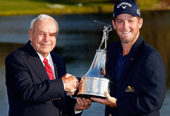 Arnold Palmer congratulates Matt Every after winning the Arnold Palmer Invitational presented by MasterCard on March 23, 2014 in Orlando, Florida. (Photo by Michael Cohen/Getty Images)