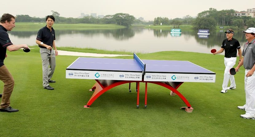 Ian Poulter, Jason Dufner Take On Table Tennis Champs In China