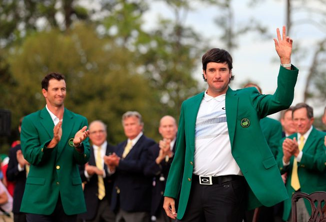 Bubba Watson poses in the green jacket after winning the Masters Tournament on April 13, 2014 in Augusta, Georgia. (Photo by Rob Carr/Getty Images)