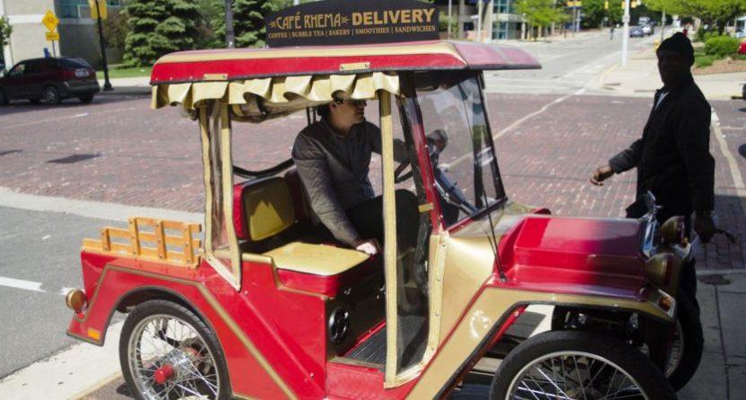 Vintage Golf Cart Helps Satisfy Coffee Fix