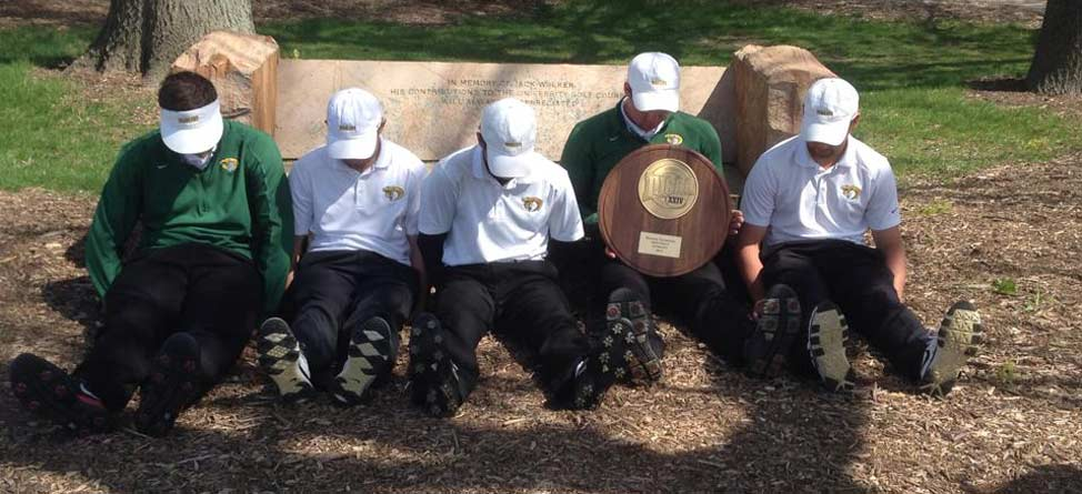 College Golf Team Celebrates with Team 'Dufnering' Photo