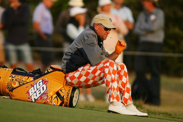 John Daly sitting on bag 600