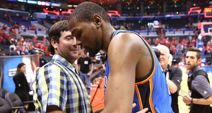 Kevin Durant Gives Bubba Watson the Shoes Off his Feet