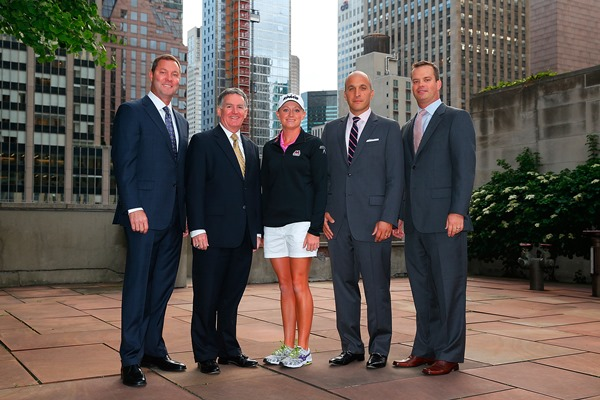(L-R) Mike Whan, Commissioner, LPGA Tour; John Veihmeyer, Chairman, KPMG; Stacy Lewis, LPGA Professional; Pete Bevacqua, CEO, PGA of America; Mike McCarley, President, Golf Channel pose prior to announcing KPMG Women's PGA Championship at the NBC Studios in New York City. (Getty Images)