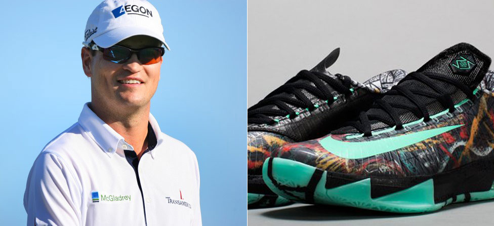 Kevin Durant Signs Shoes for Zach Johnson Foundation