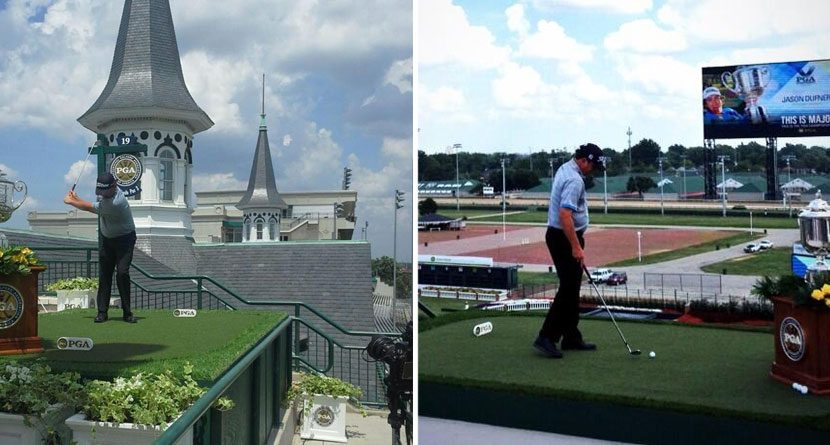 Colonel Jason Dufner Tees Off From Top of Churchill Downs