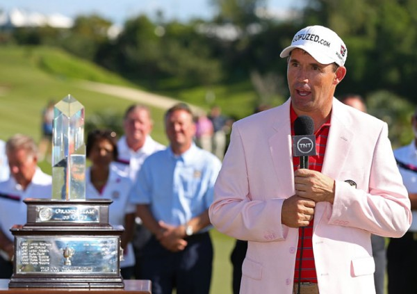 Padraig Harrington poses with the trophy after winning the PGA Grand Slam on October 24, 2012 in Southampton, Bermuda. (Photo by Mike Ehrmann/Getty Images)