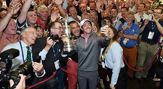Rory McIlroy Takes Selfie with the Claret Jug, A Few Friends