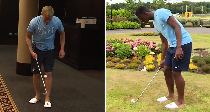 Manchester City Players Take 'Golf Keepy Uppy Challenge'