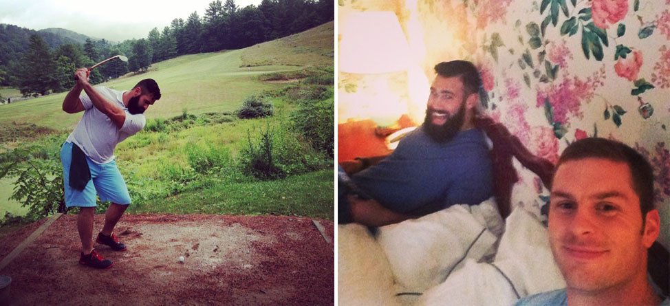 Saints Players Enjoy Golf, Flowery Wallpaper at Greenbrier