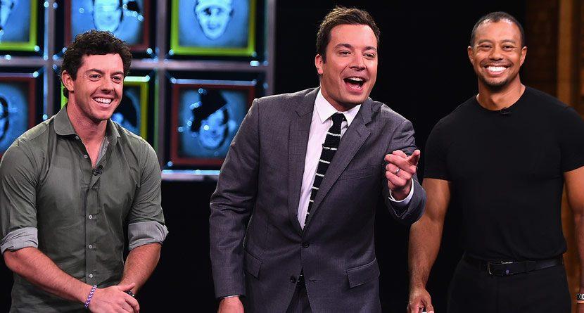 Tiger Woods, Rory McIlroy Battle Jimmy Fallon on 'Tonight Show'
