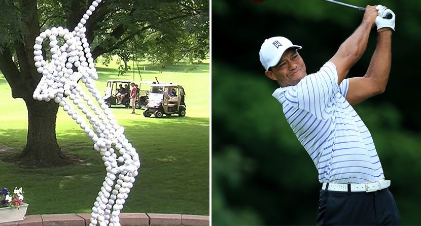 Man Creates Tiger Woods-Inspired Statue From 600 Golf Balls