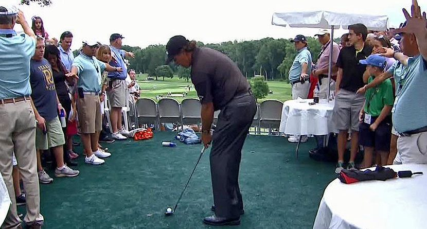 Phil Mickelson Hit A Shot From The Hospitality Tent