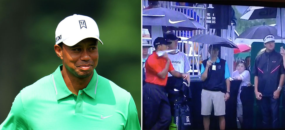 Bored Tiger Woods Throws Paper Airplane at Bubba Watson