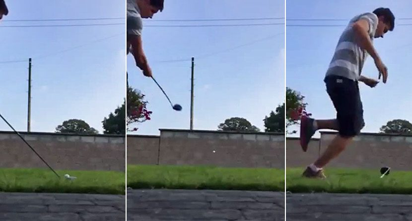 Darwin Award Nominee: A Golf Ball Meets A Stone Wall