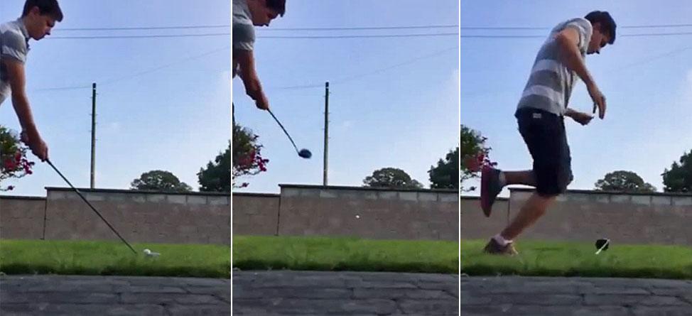 Darwin Award Nominee: A Golf Ball Meets A Stone Wall