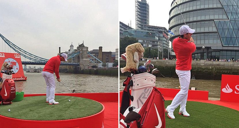 Rory McIlroy Takes Target Practice On River Thames