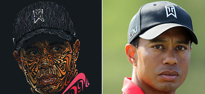 Amazing Tiger Woods Portrait Made Entirely Of Nike Swooshes