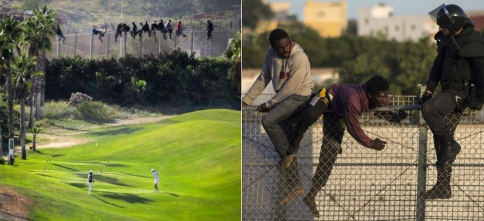Viral Photo: Golfers Play On While African Migrants Stuck On Fence