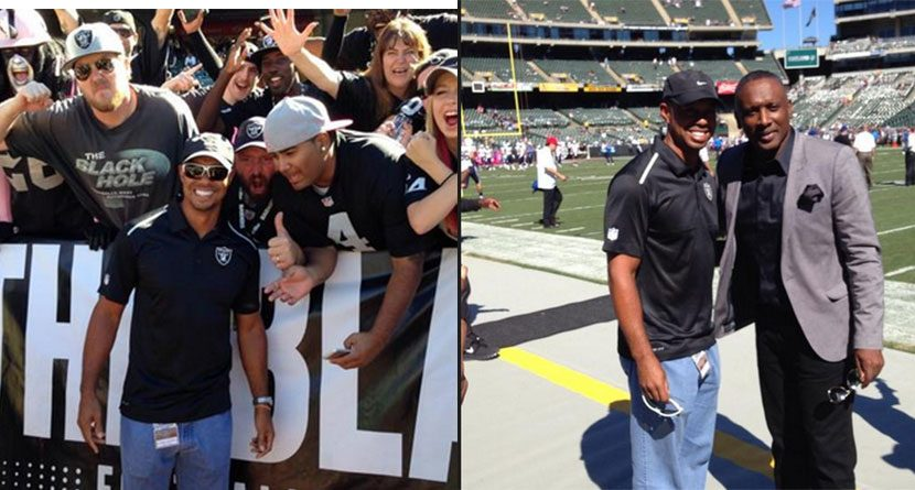 Tiger Woods Visits 'Black Hole' At Oakland Raiders Game