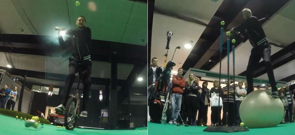 No Big Deal: Unicyles & Exercise Balls Part Of Golf Trick Shot Show
