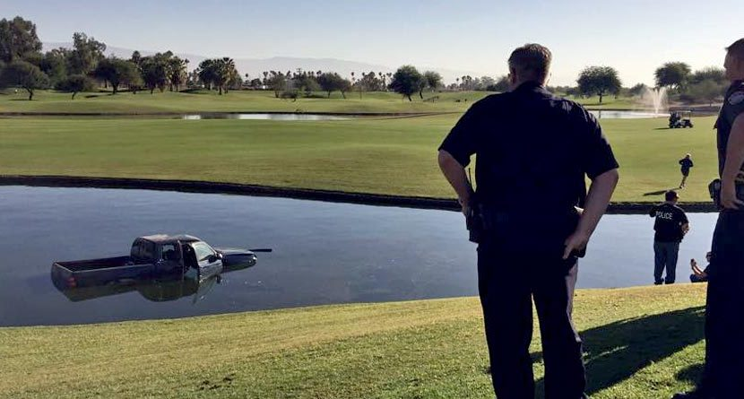 Wrong Drive: Stolen Truck Finds Golf Course Lake After Chase