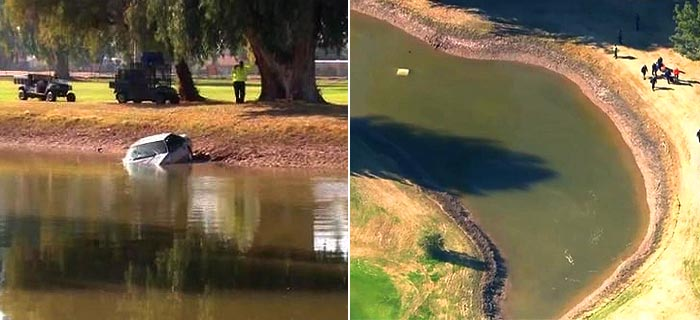 Golfers Save Driver From Car Submerged In Water Hazard