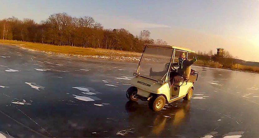Video: Golf Cart Drifting On Frozen Pond Is A Great Success