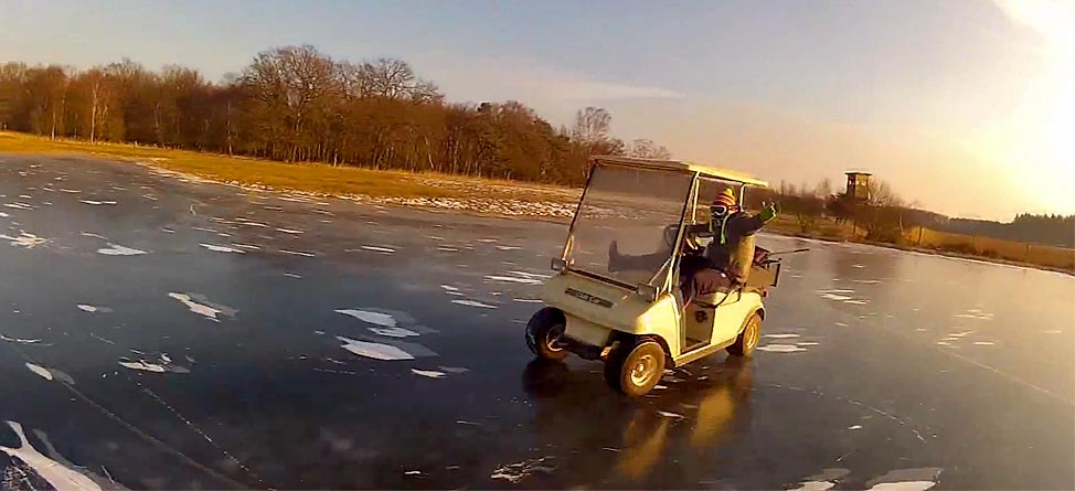 Video: Golf Cart Drifting On Frozen Pond Is A Great Success