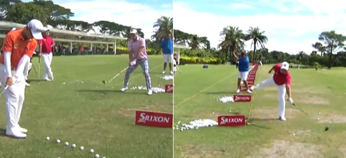 Pros (Hilariously) Try Trick Shot Challenge At Thailand Golf Championship