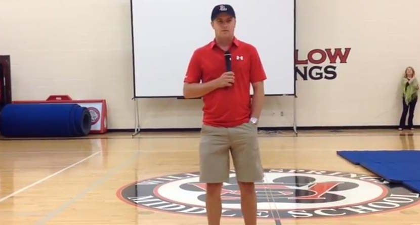 Jordan Spieth Speaks to Middle School About Saying No To Drugs