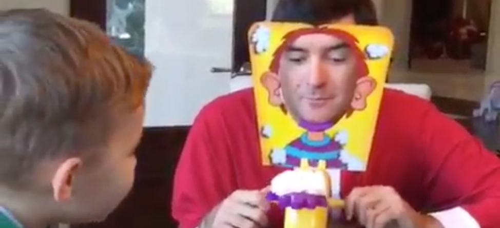 Bubba Watson and His Son Get Pie Faced
