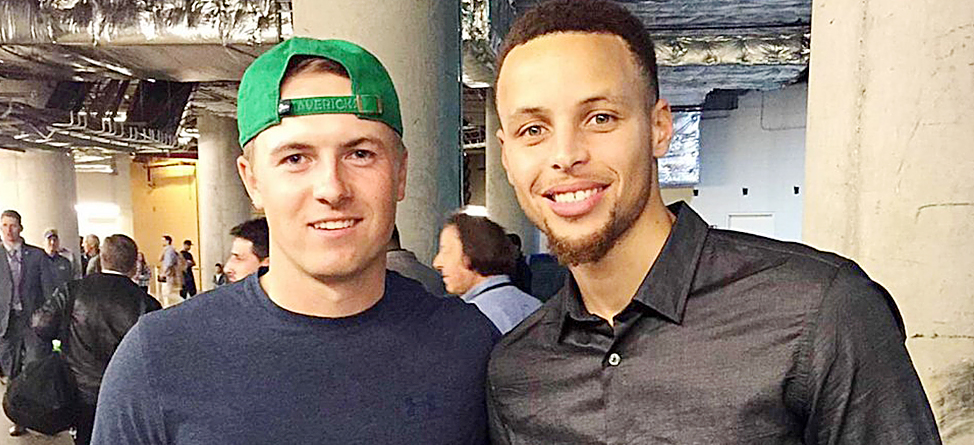 Jordan Spieth Meets Stephen Curry At Warriors-Mavericks Game