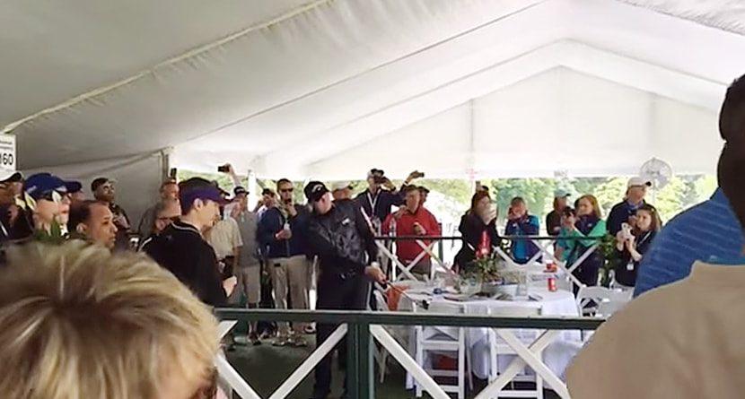 Jason Kokrak Hits Recovery Shot From Hospitality Tent