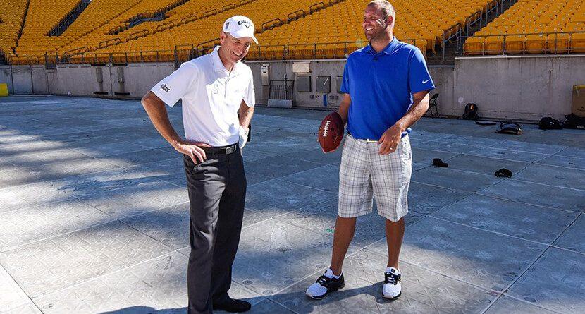 Jim Furyk, Ben Roethlisberger Play Golf At Heinz Field